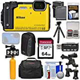 Nikon (ニコン) Coolpix W300 4K Wi-Fiショック&防水デジタルカメラ(イエロー)+ 64GBカード+バッテリー&充電器+ダイビングLEDビデオライト+ブイ+ケース+三脚キット [並行輸入品]