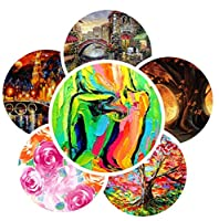 HSBAIS 純粋な手描きのフレームレス油絵 - 夜景現代美術キュービズム現代の家の装飾壁アートペインティング、1pc、27 * 27inch,27 * 27inch