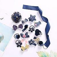ヘアアクセサリーヘッドセットヘアクリップセットベビープリンセスリボンちょう結びヘアピンキッドクラウンヘッドドレス収納ロープボックスプレゼントプレゼントキッズアートとクラフトキット18ピース,Blue