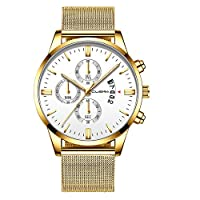 Rencaifeinimo2019年最新 紳士用 超薄型 男女兼用 多機能 腕時計 人気 スポーツ 華奢 ファッションメンズファッションスポーツステンレススチールケースレザーバンドクォーツアナログ腕時計