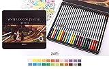 水溶性 色鉛筆 24 36 48 72 色 セット 水彩 色 鉛筆 メタルケース 入り オリジナル手描きハガキ付き 選べる本数 (24色)