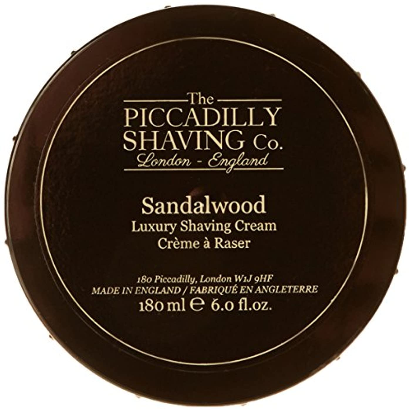 険しいはがき憲法Taylor Of Old Bond Street The Piccadilly Shaving Co. Sandalwood Luxury Shaving Cream 180g/6oz並行輸入品