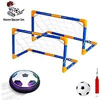VCOSTORE ホバー サッカーボール おもちゃセット ゴール2個付き サイズ4エアパワーサッカーディスク LEDライト付き 屋内 屋外 楽しいスポーツボールゲーム 子供用