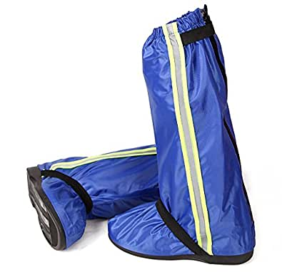 ロング レインシューズカバー 防水対策 背面ファスナー仕様 男女兼用 ブルー L