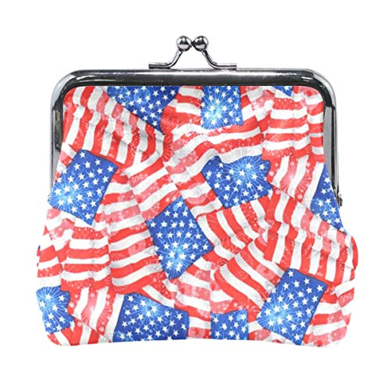 がま口 小銭入れ 財布 アメリカの国旗 (2) コインケース レザー製 丸形 軽量 人気 おしゃれ プレゼント ギフト 雑貨