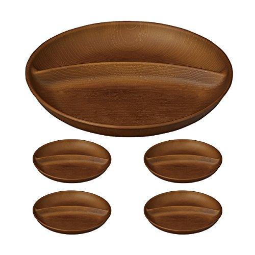 ワンプレート 皿 仕切り セット 木目 食洗機対応 電子レンジ対応 日本製 ネイティブハート NH home ワンプレート 5点セット(ライトブラウン)