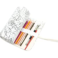 Sanwooden Creative and Fashionable 36/48/72 Holes Constellation Canvas Roll-up Pouch Pencil Case Sketch Brush Bag - 72 Holes