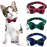 PAWCHIE Breakaway Bowtie Cat Collar with Bell - 3 Pack Classic Plaid Kitten Collars with Removable Bow Tie, Adjustable and Safety for Kitty, Puppy, Small Dogs