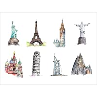 "Posters Prints水彩画Eiffelピサタワービッグベン時計壁アート装飾Landmark Buildings (17""x13"") Unframed"