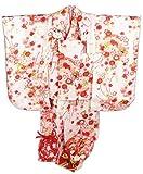 七五三 3歳~4歳用 被布コート7点セット 花柄 衿下うさぎ飾り付 UHS-21 ホワイト