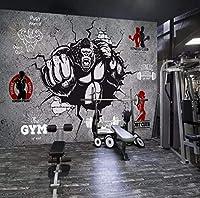 壁画 パーソナリティクリエイティブフィットネスボディービルダーゴリラ3D壁紙ロールジム寝室の背景3D壁画壁紙家の装飾 120X100