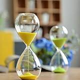 砂時計 時計 カラー豊富 インテリア 飾り物 プレゼント 贈り物 お風呂 防水 (10分計, イエロー)