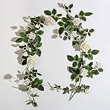 Yiliyajiつるバラの造花1.8m ポリエステルフラワーグリーンリーフ壁掛けインテリア結婚式お祝い誕生日パーティー (ホワイト)