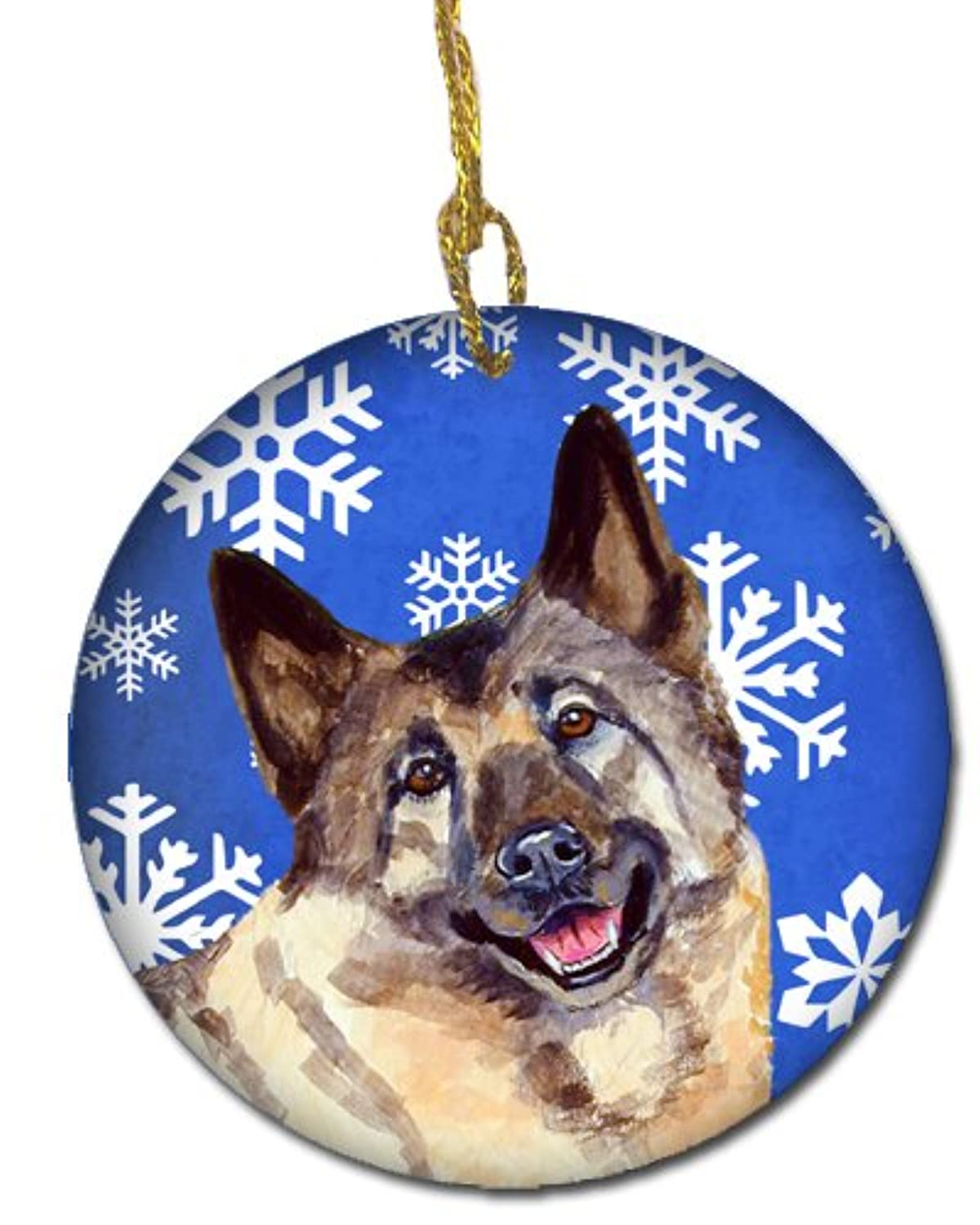 Carolines Treasures LH9308-CO1 Norwegian Elkhound Winter Snowflake Holiday Ceramic Ornament