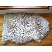 ムートン長毛ピースラグ1匹物 ムートンラグ ニュージーランド・オーストラリア産 天然羊毛 天然ムートン100% 子羊1匹もの 【Lamouton(ラムートン)】 (ブラウンストーン)