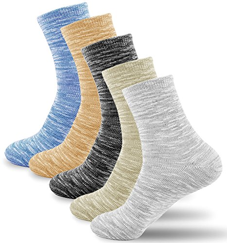 Riorune 靴下 メンズ ソックス コットン混紡 5足セット 25cm-27cm (マーブル/ロング)