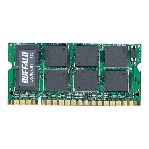 バッファロー D2/N667-1G PC2ー5300 DDR2ー667 対応 DDR2 SDRAM 200Pin用 S.O.DIMM 1GB 1式