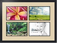 ArtToFrames アルファベット写真画像フレーム  11x14 インチ 4窓 サテンブラックフレーム 4-8x12 Double-Multimat-1598-844/89-FRBW26079
