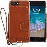 <iPhone8 Plus iPhone7 Plus/新型> RAKUNI (ラクニ) 本革 背面フリップケース/財布いらず/便利な前面むきだし/ストラップ付き/スタンド機能 (キャラメルブラウン)