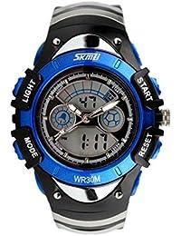 Aupooe キッズ腕時計 アナデジ表示 防水 ガールズ/ボーイズ (ブルー)