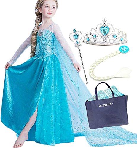 35aa8fbd4a9d5 エルサ風ドレス 子供用5点セット(ドレス ティアラ スティック IN・ESTILOR衣装バッグ) 130cm
