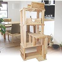 杉にゃん 天然木製 キャットタワー 据え置き型 ヴェルサス4段 半円ステージ付きモデル