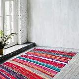 Zahra Bohemian Decorative Chindi Rag- Hand Woven Multi Blue Color Cotton Home Décor Vibrant Chindi Rag Rugs