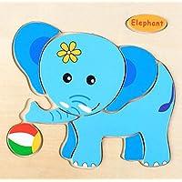 幼児期のゲーム 子供のための素敵な木製の就学前の象の認知ボード教育パズル