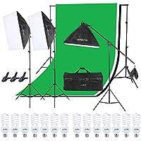 Andoer 写真照明用セット ソフトボックス 背景布*3 30点キット 12*45W電球 ライトスタンド 収納バッグ付き