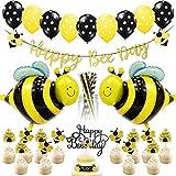 ハッピーバースデー飾り パーティー飾り付け bee 蜜蜂 ベビーシャワー 誕生日 男の子 女の子 ガーランド アルミバルーン 挿入カード ブラックイエローストロー