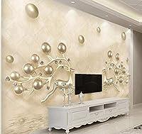 Chunxd 壁紙カスタムリビングルームベッドルーム高級ヨーロッパ裁判所風ダイヤモンド花壁画背景家の装飾-450X300Cm