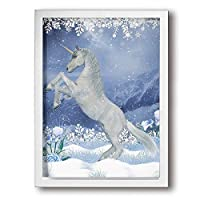 BLI BYAN 冬の夜ユニコーン アートパネル アートフレーム・ポスター 額付きアートパネル 額縁 壁掛け インテリア 現代 キャンバス絵画 壁飾り フレーム付き 木枠付きの完成品 40x30cm