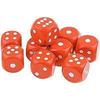 Fityle 10個 木製 サイコロ 骰子 全7色 - オレンジ