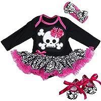 Ameda Baby Girls' Hot Damask Skull Pirate Bodysuit Tutu