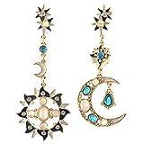 M's style ロマンチック 月と太陽 の ビジュー スタッド ピアス ブランド アジアン スタイル の 美的 テクスチャ ファッション ジュエリー コーディネート レディース アクセサリー