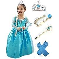 アナと雪の女王 エルサ 風 子供用 ドレス 5点セット ( ドレス ・ ティアラ ・ 魔法の杖 ・ 三つ編みの付けウイッグ ・ 手袋 ) (130)