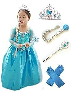 アナと雪の女王 エルサ 風 子供用 ドレス 5点セット ( ドレス ・ ティアラ ・ 魔法の杖 ・ 三つ編みの付けウイッグ ・ 手袋 ) (100)