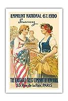 ナショナル・ローン1920 - 購読します - ニューヨーク、パリの公平信託会社 - ビンテージな広告ポスター によって作成された ギラウーム・セイニャック c.1920 - プレミアム290gsmジークレーアートプリント - 61cm x 91cm