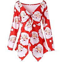 JINTING Long Sleeve Christmas Top Blouses for Women Plus Size Cute Christmas Santa Shirt Top Blouse