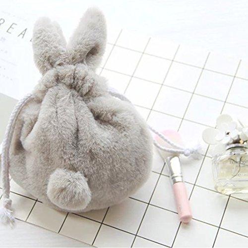 ウサギコスメポーチ YIFAN 巾着 収納袋 兎 ウサギ ぬいぐるみ 化粧品収納バッグ 携帯便利 サイズ:20 * 18 * 3cm (灰色)