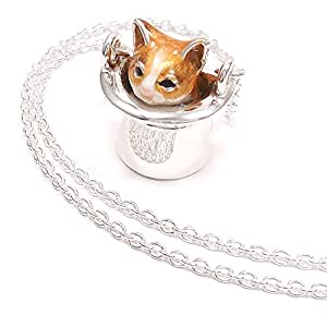 [アンティエーレ] entiere ネックレス ペンダント レディース シルバー925 帽子 猫 はちわれ 茶 61cm