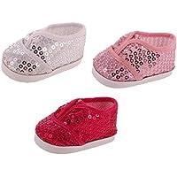 GRALARA3足 ドール人形用 人気 スパンコールの靴 スニーカー シューズ 18インチアメリカンガール人形適用 3色