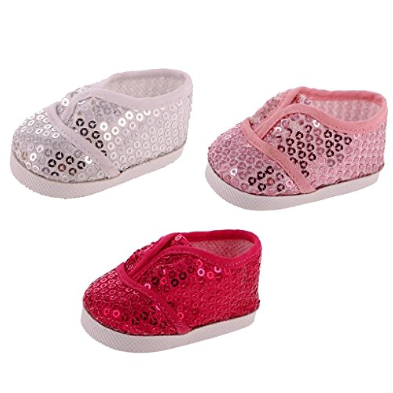 Lovoski 3ペア ファッション スパンコールの靴 スニーカー シューズ 人形の飾り 18インチアメリカンガール人形適用 贈り物 多彩