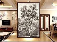 Bzbhart カスタムサイズの壁画壁紙手描きスケッチ家系ポーチ背景壁絵画壁紙-300cmx210cm