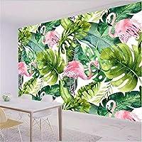 Mingld 3D壁紙壁画カスタムホームインテリアリビングルーム寝室北欧小さな新鮮なフラミンゴカメバックリーフ壁画-120X100Cm