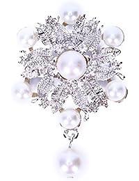 Nrpfell 1Xブローチ ファッション エレガントなダイヤモンドパールの花輪付き 結婚式のブライダルブローチ ラインストーン カバー スカーフ ショールクリップ 女性レディージュエリー(シルバー)