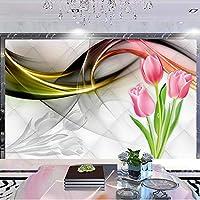 Xueshao 壁布現代3D抽象チューリップ花煙霧写真壁画壁紙リビングルームテレビソファ家の装飾壁紙3D-400X280Cm
