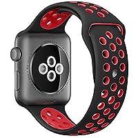 【万屋】Apple Watch スポーツバンド 全16色 高級シリコンバンド Apple Watch Series 3 / Series 2 Series 1 に向け 専用スポーツバンド 通気 汚れ防止 水洗い可 Apple Watch 人気スポーツバンド (Apple Watch 42mm, ブラック+レッド)
