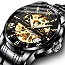 腕時計, メンズ腕時計 機械式 スケルトン ブラックス テンレススチール 高級 防水 自動 自動巻き ルミナス ダイヤモンド ローマ数字 ダイヤル 時計
