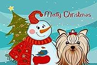 Caroline 's Treasures bb1824plmt Snowman with Yorkieヨークシャー・テリアファブリックプレースマット,マルチカラー